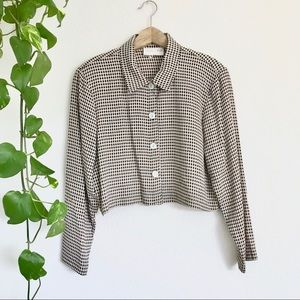 Vintage Gingham Plaid Cropped Button Top Jacket